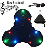 Fidget Spinner Black Spinner Fidget Toy with LED Light, Bluetooth Music Speaker and USB Cable - Hand Spinner EDC Tri-spinner for Killing Time and Pressure Relief