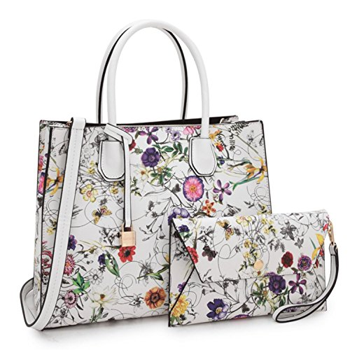 Women Handbag 2 Pieces Set Leather Shoulder Bag Satchel Purse 2 in 1 Simple Design White Floral