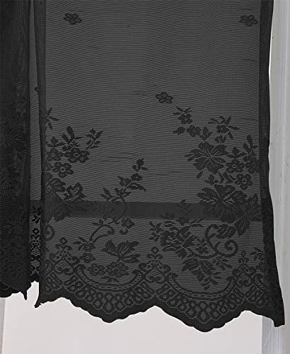 Popuid Vintage Sheer Kitchen Cafe Window Curtains Valance Lace Floral Embroidered Curtain Topper for Small Windows Decor Black, 51 W16 H Pair