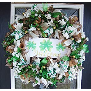 XL Beautiful Floral St. Patricks Day Deco Mesh Front Door Wreath, Outdoor Indoor Porch Patio Wall Decor, Spring Decoration, March Shamrock 55