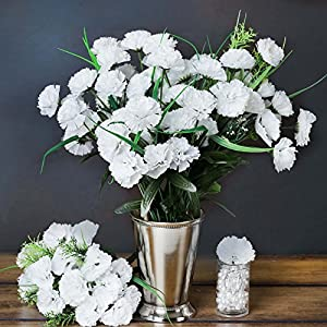 Tableclothsfactory 252 Mini Artificial Carnations Wedding Flowers Sale - White 12