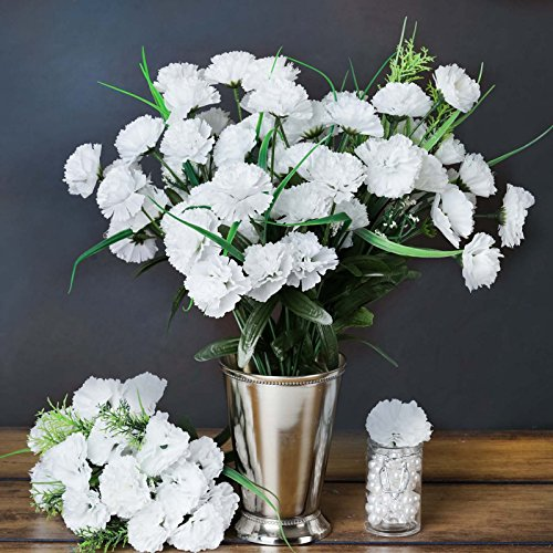 BalsaCircle 252 White Mini Silk Carnations - 12 Bushes - Artificial Flowers Wedding Party Centerpieces Arrangements Bouquets Supplies