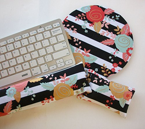black white stripes gold metallic flowers mouse pad Keyboard rest and or WRIST REST MousePad set - coworker gift - office Desk Accessories