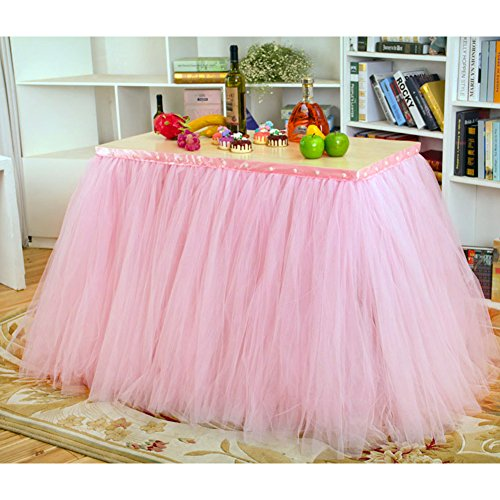 Haperlare 3ft Pink Tulle Table Skirt Queen Wonderland Pink Tablecloth Skirting Tutu Tablecloth with Smooth Edge for Christmas Wedding Baby Shower Birthday Cake Dessert Table Decoration 31 x 36 inch -