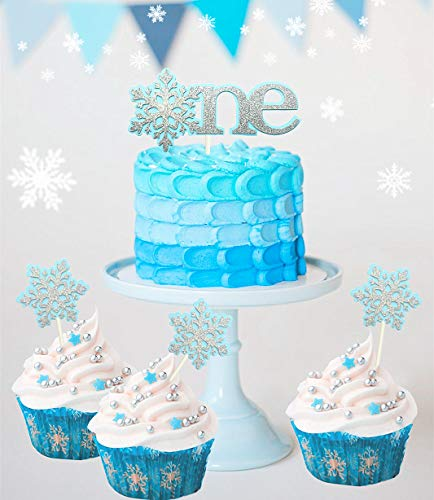 Set of 4 JeVenis Glittery Blue Snowflake Cake Topper 1st First Birthday Cake Topper Snow Cake Decoration Winter Cake Topper for Boy or Girl Baby Shower Party Decorations