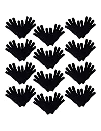 Set of 12 Warm Knit Gloves Unisex Lots of Styles - Black Knit