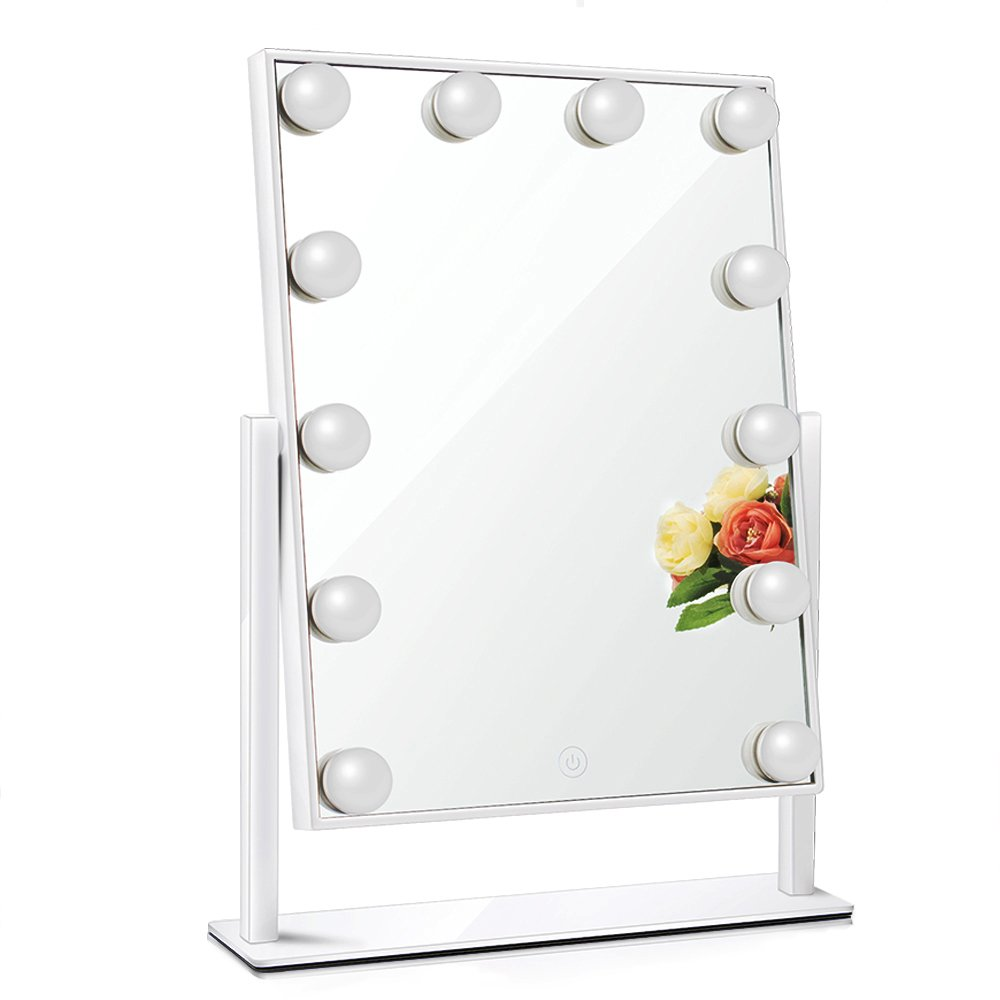 Chende Glossy White Lighted Vanity Mirror with Dimmable LED Bulbs, Hollywood Style Makeup Mirror with Lights for Touch Control Design, 3 Different Lighting Settings (4030 White) Tochic Company