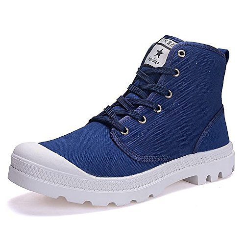 Estate/Autunno 2018 Sneaker moda uomo e donna Large Size High Top Canvas Shoes Stringate antiscivolo Outsole fino alla taglia 47EU (Color : Blu, Dimensione : 40 EU)
