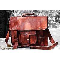 Leather Native Bolsa de Mensajero de Cuero Marrón Bolsa de Ordenador Portátil Hombro Maletín Vintage Genuino