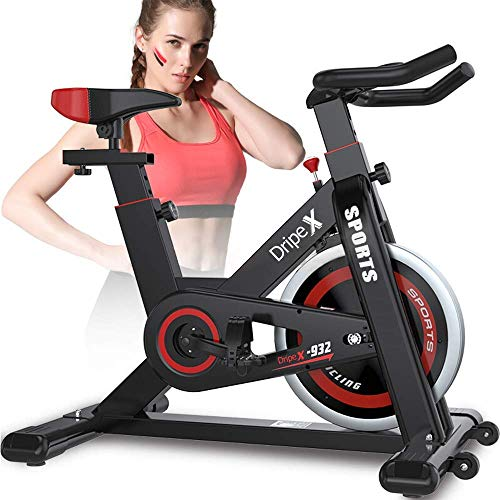 Dripex Upright Exercise Bikes (Indoor Studio Cycles) – Studio Quality with Heart Rate Monitor, Large Bidirectional Flywheel, Belt Drive, Infinite Resistance, LCD Displays, Hand Pulse【2019 Model,932】