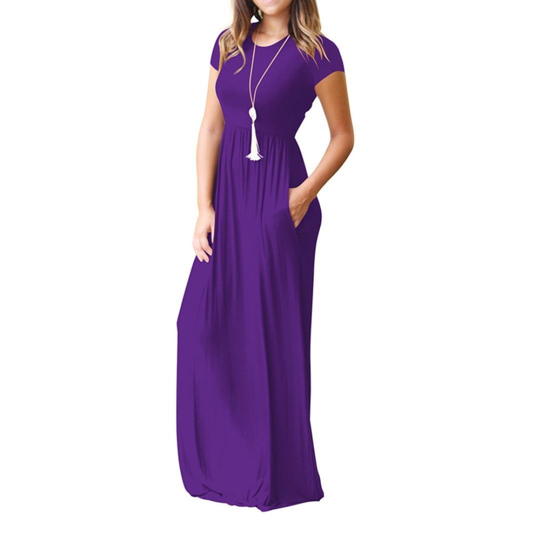 Vestido maxi de manga corta para mujer, estilo Saihui, color liso, suelto, estilo informal, longitud del suelo, vestidos largos con bolsillos small morado: ...
