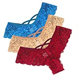 Gergeos 1/3/4/6PC Sexy Women Lace Thongs Low Waist Panties G-String Underpant Knickers Briefs Underwear Lingerie
