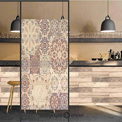 3D Decorative Privacy Window Films,Antique Traditional Ceramic Tiles Ornate Moroccan Arabesque Print Decorative,No-Glue Self Static Cling Glass film for Home Bedroom Bathroom Kitchen Office 24x71 Inch