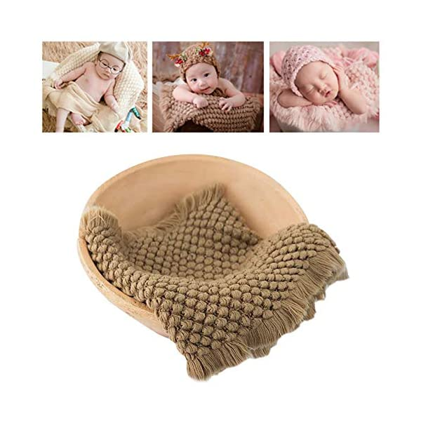 Newborn Photography Wrap | Knitted Blanket for Baby Photo Props | 14 X 63 inch Newborn Rug Basket Filler with Tassel Brown