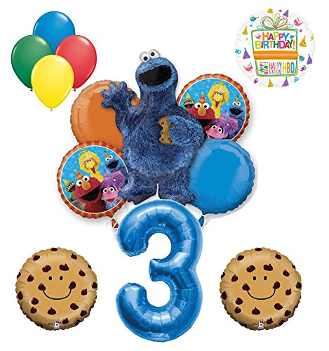- Mayflower Products Cookie Monster and Friends 3rd Birthday Party Balloon Bouquet Decorations