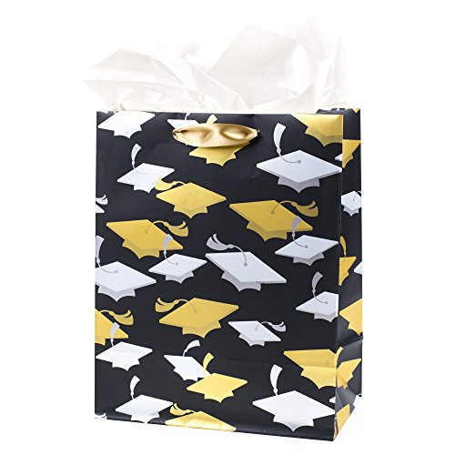 Hallmark Medium Graduation Gift Bag with Tissue Paper (Metallic Mortarboards) -