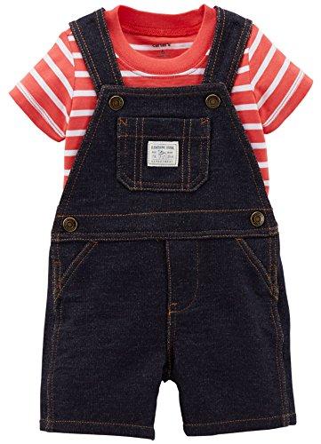Carter's Baby Boys' 2 Piece Shortall Set (Baby) - Denim - 6 - Baby Shortalls Boy