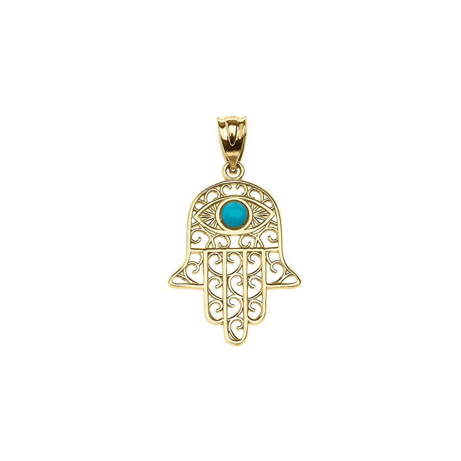 Middle Eastern Jewelry 14k Yellow Gold Hamsa Hand With Evil Eye