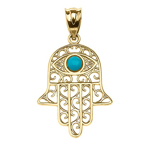Middle Eastern Jewelry 14k Yellow Gold Hamsa Hand With Evil Eye Pendant