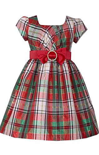 Bonnie Jean Plaid Dress - Bonnie Jean Short Sleeve Christmas Dress with Red and White Plaid and Bow at Waist 6Y
