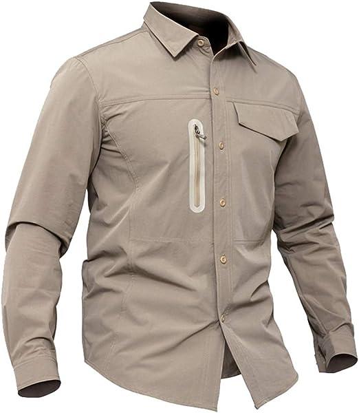 LUKHXF Camisa De Pesca Hombres Camiseta UV Protección Longitud De La Manga De Combate Militar Camisas Secas Rápida (Color : Khaki, Size : XL): Amazon.es: Hogar