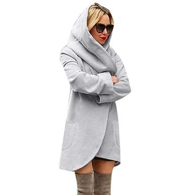 DAYLIN 2018 Mujer Abrigos Otoño Casual Suelto Artificial Lana Chaquetas con Capucha Tops, Color Sólido: Amazon.es: Ropa y accesorios