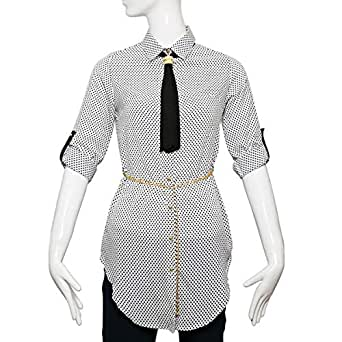 Puanli White Polyester Shirt Neck Shirts For Women