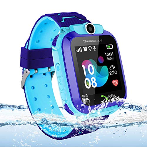 Themoemoe Kids Smart Watch Phone, Kids GPS Tracker Watch with SOS Anti-Lost Alarm Sim Card Slot Touch Screen Smartwatch for 3-12 Year Old Children Girls Boys(Blue) (Best Phone For Kids)