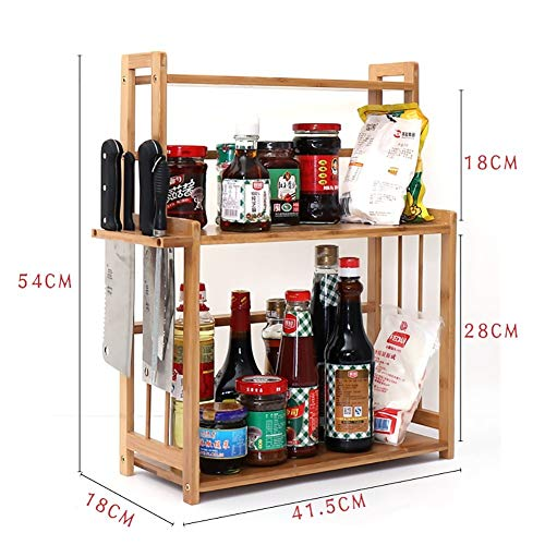 CWJ Bamboo Kitchen Spice Rack Storage Rack Multifunctional Sink Tableware Drain Shelf Table Storage Shelf,A