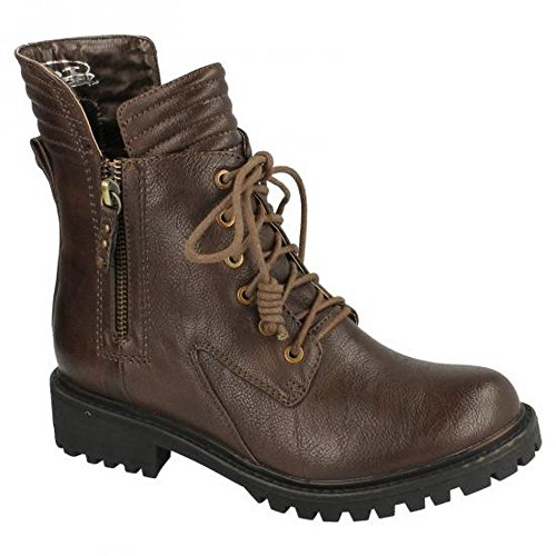 Ladies Spot On Ankle Boots Style - F50325 Dark Brown