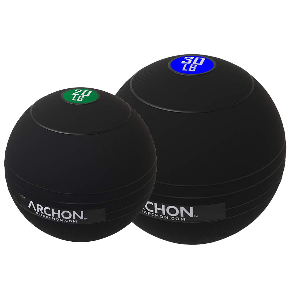 ARCHON Training 20 LB and 30 LB Pound Slam Ball Set | Crossfit Workout | No Bounce Exercise Ball | Gym Equipment Accessories | Plyometric Exercise | Cardio | Jam Ball | Squats | Medicine Ball