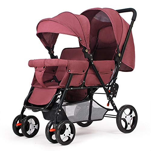 Tandem Stroller Foldable, Double Stroller for Infant and Twin Stroller Toddler Adjustable Backrest Footrest 5 Points Safety Belts,Red