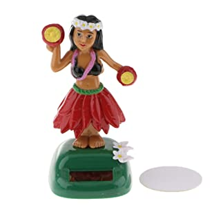 SM SunniMix Hawaii Girl Solar Powered Dancing Animal Altalena Animato Bobble Dancer Toy - Rosso