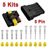 XCSOURCE 5 Sets of 5 Way Car Superseal Waterproof Electrical Terminal Wire Connector Pin Plug Kit for Motorcycle Scooter Car Truck Quad Bike Caravan Marine Jet Ski Boats MA381