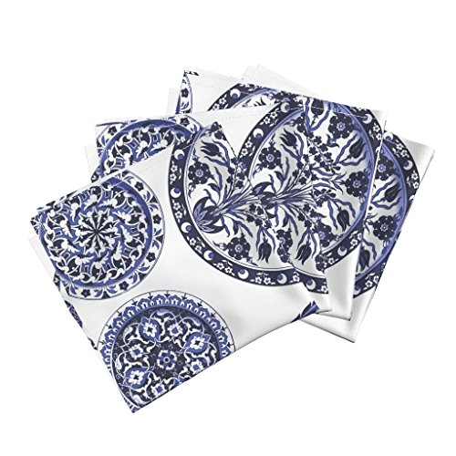 Roostery Plates China Tea Victorian Delft Willow Blue And White Organic Sateen Dinner Napkins Blue & White China Plates by Peacoquettedesigns Set of 4 Dinner Napkins Custom China Plates