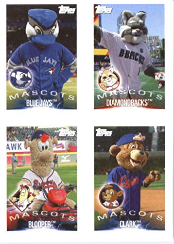 2019 Topps MLB Stickers Baseball #97/138/146/149 Toronto Blue Jays/Arizona Diamondbacks/Blooper/Clark/Ichiro Toronto Blue Jays/Arizona Diamondbacks/Atlanta Braves/Chicago Cubs/Seattle Mariners Mascots Trading Card Sized Album Sticker with Collectible Card Back