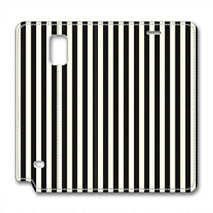 Note 4 leather Case,Note 4 Cases ,Black and white stripes Custom Note 4 High-grade leather Cases