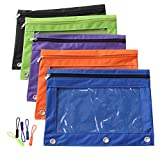 Zippered Binder Pencil Pouch with Zipper Pulls, Pencil Case with 3 Rivet Enforced Holes, 5 Pack 5 Colors