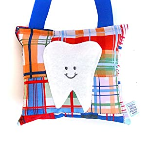 Boy's Tooth Fairy Pillow in Navy and Tangerine Madras Print