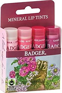 product image for Badger - Mineral Lip Tints Variety Pack, Moisturizing Lip Balm with Sheer Color, Natural Lip Balm with Color, Tinted Lip Balm, Lip Stain, Pink Lip Tint, 0.15 oz (4 Pack)