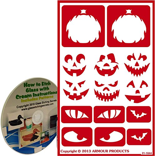 Halloween Stencils for Glass Etching or Painting with Pumpkin Faces + How to Etch CD -