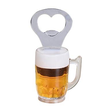 BESTOMZ Novelty Bottle Opener Fridge Magnet Beer Wine Openers A Glass Beer Style