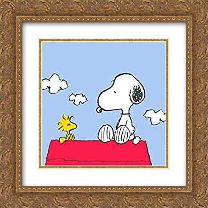 d6621fa91dbd1f Amazon.com  Peanuts (Snoopy   Woodstock) 2X Matted 20x20 Gold Ornate ...
