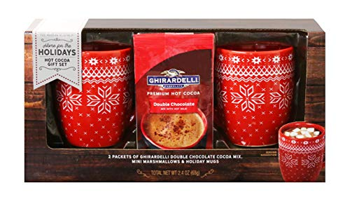 Ghirardelli Cocoa for Two Gift Set | Contains 2 Ceramic Mugs (12 oz.), Ghirardelli Double Hot Chocolate Cocoa, and Mini Marshmallows (Hot Set Cocoa)