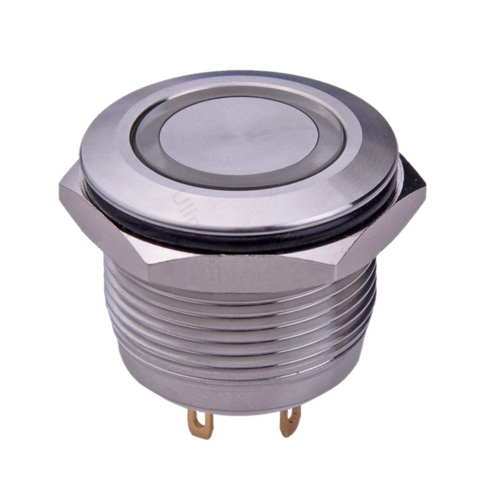 Ulincos Momentary Push Button Switch U19D1 1NO SPST Silver Stainless Steel Shell with Blue LED Ring Suitable for 19mm 3//4 Mounting Hole Pack with a Resistor