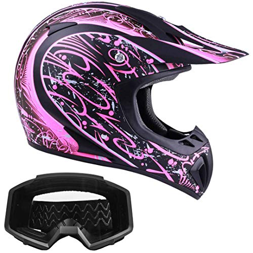 Typhoon Women's Dirt Bike Helmet and Goggles ATV Motocross Off Road, Matte Pink w/Black (Small) ()