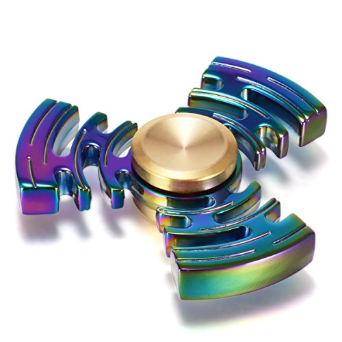 Fidget Spinner for Kids & Adults, BEST Rainbow Hand Spinner for ADHD, Killing Time, & Stress Relief. Made of Titanium Alloy, Ceramic Bearing, 3+ min, High Speed, & EDC with Portable Case (Maze)