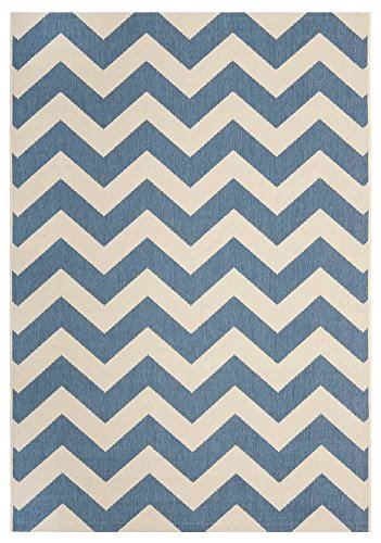 Safavieh Transitional Rug - Courtyard 6000 Polypropylene -Blue/Beige Blue/Beige/Transitional/5' 7''L x 4'W/Small Rectangle