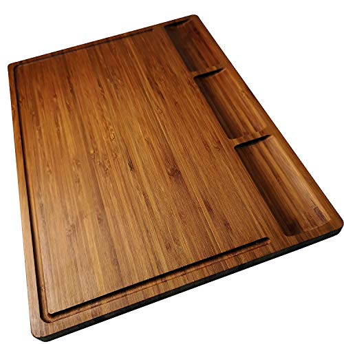 Allsum Large Bamboo Wood Cutting Board for Kitchen, Butcher Block, Chopping Cheese Carving Board, Serving Tray with 3 Built-In Dividers And Juice Grooves (17x12.6x0.62 Inch, Dark Bamboo)