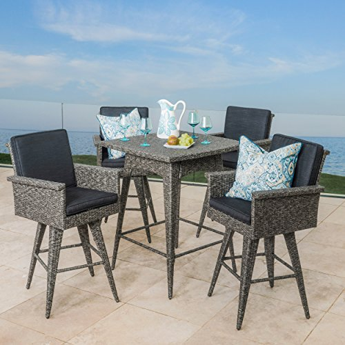Venice 5 Piece Outdoor Wicker Dining Bar Set Black and Grey : 519SEGjDrEL from www.selloscope.com size 500 x 500 jpeg 54kB